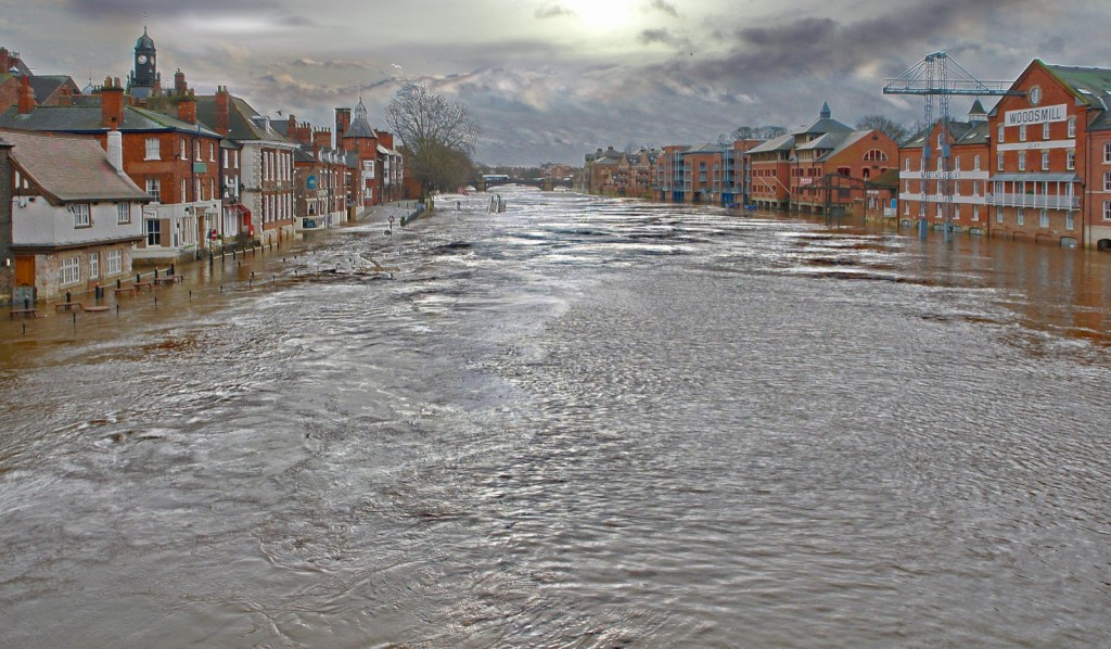 Increased flood events as a consequence of climate change.